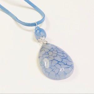 Soft Cornflower Blue Genuine Agate Necklace